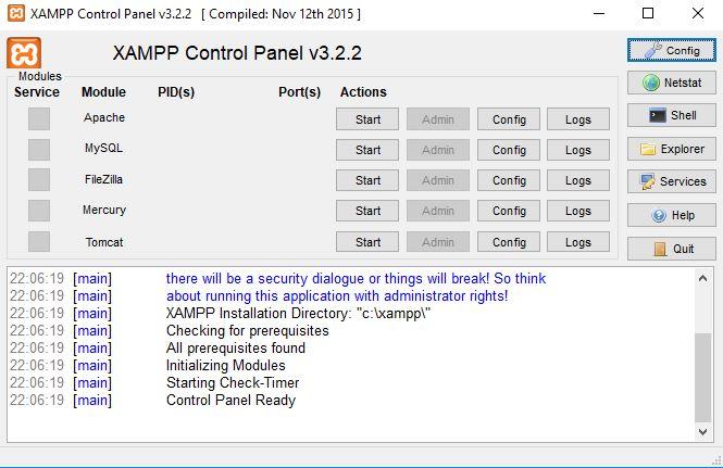 XAMPP Localhost Kontrol Paneli