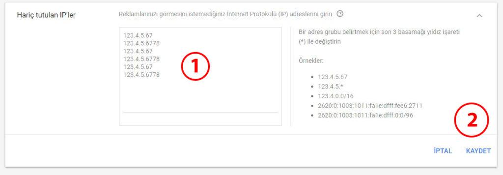 Google Ads AdWords IP Engelleme