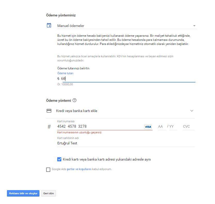 Google AdWords Ads Ödeme Yöntemi