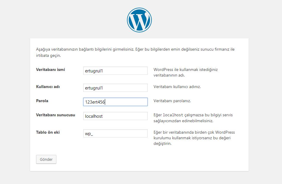 localhost wordpress kurulumu 2