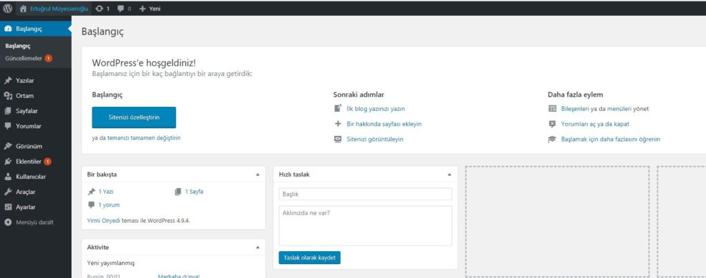 wordpress admin paneli