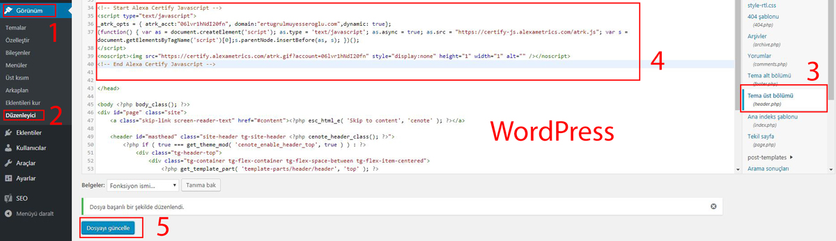 Alexa Web Site Ekleme 5