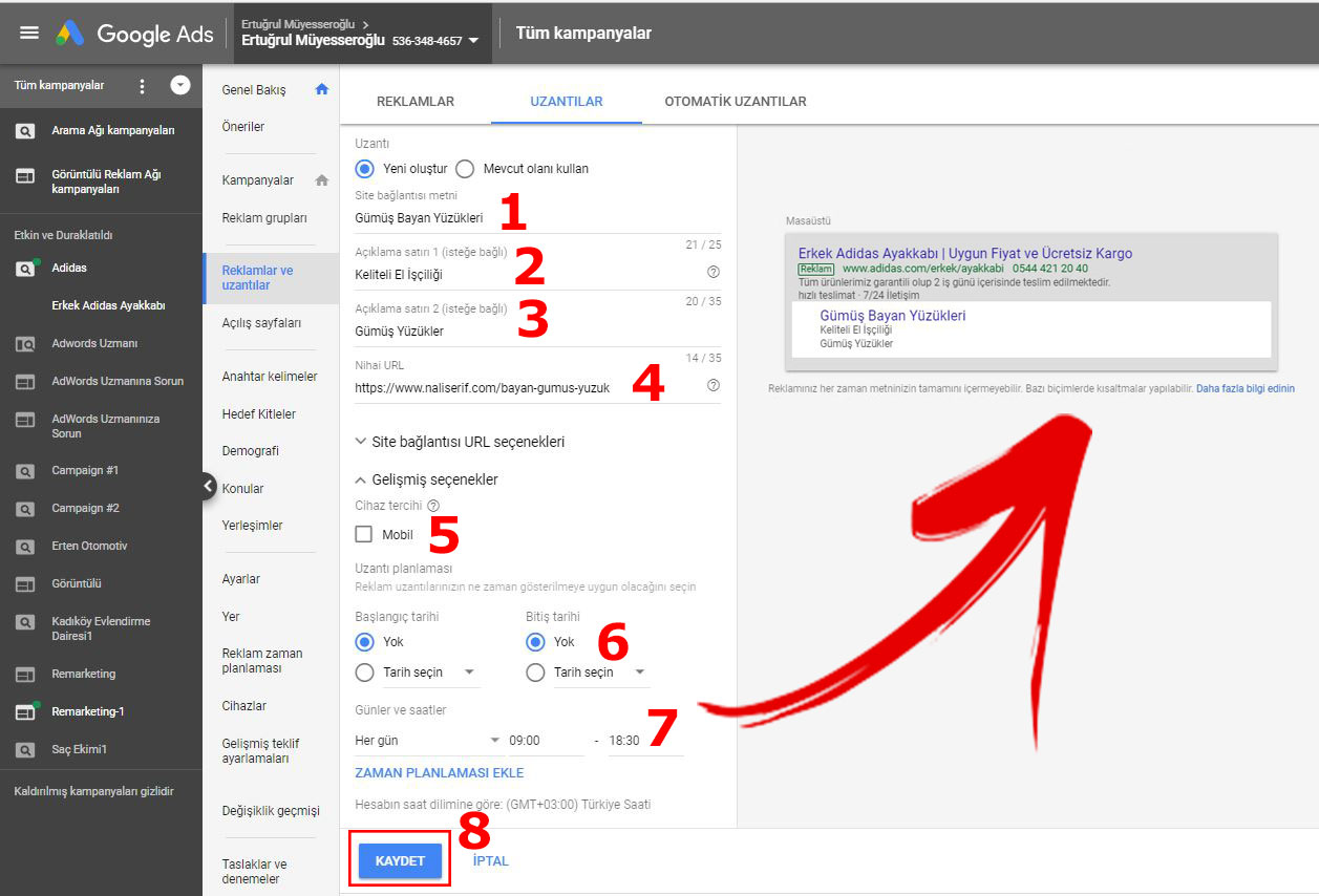 Google Ads AdWords Site Bağlantısı Uzantısı