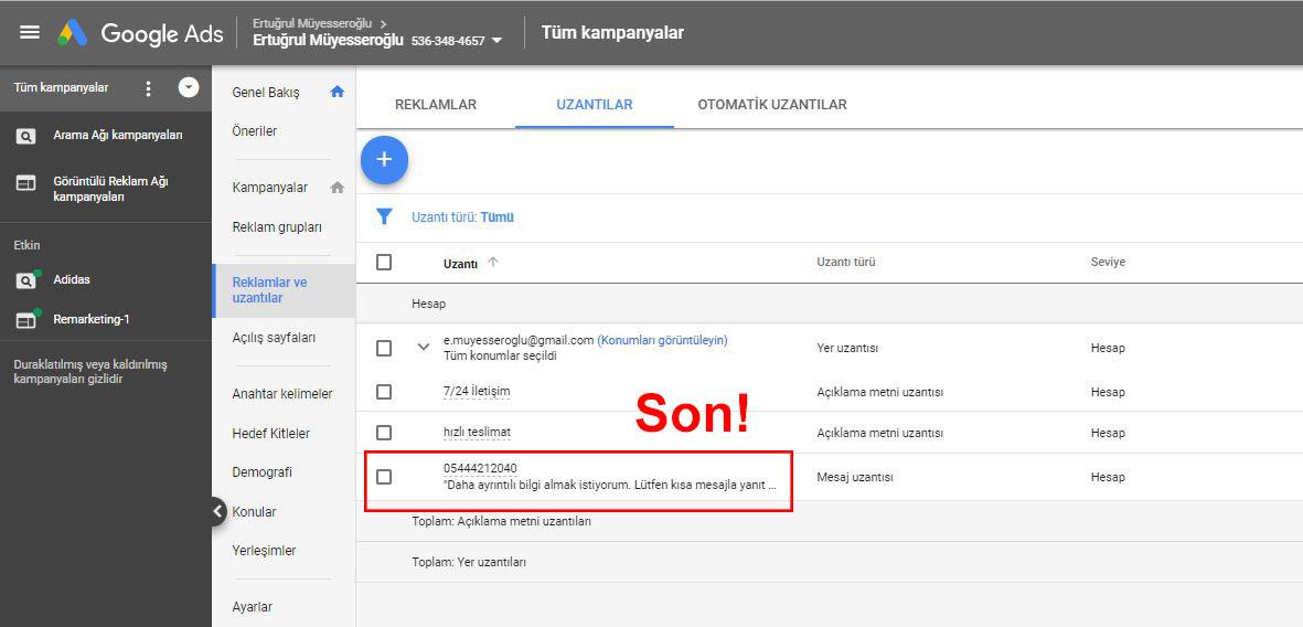 Google Ads AdWords Mesaj Uzantısı Oluşturma