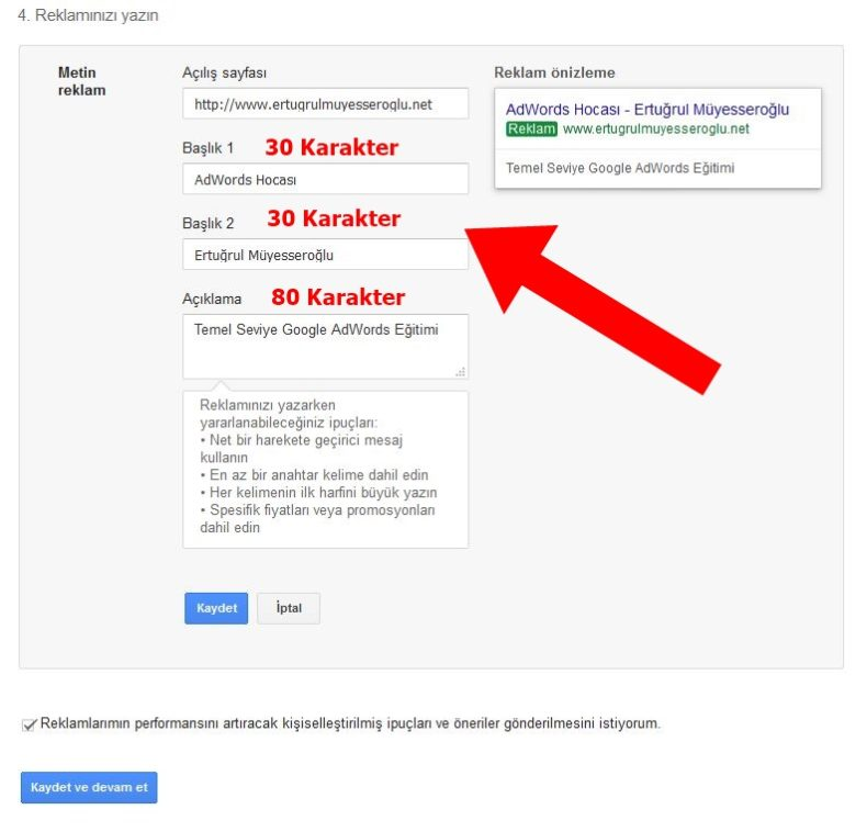Google Ads AdWords Reklam Metni