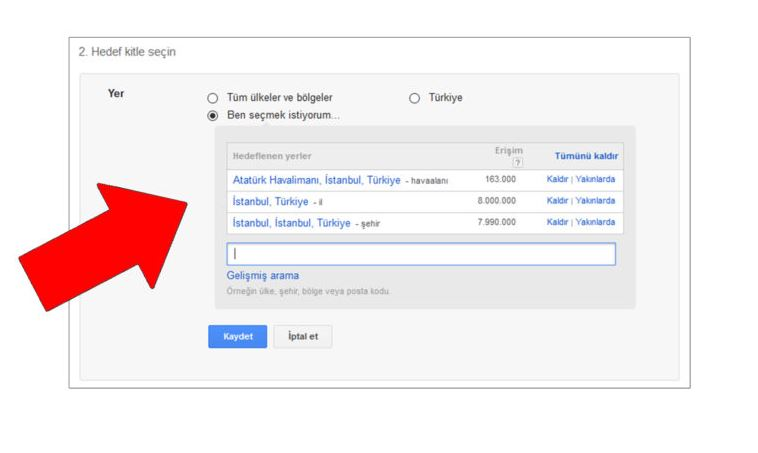 Google Ads AdWords Yer Lokasyon