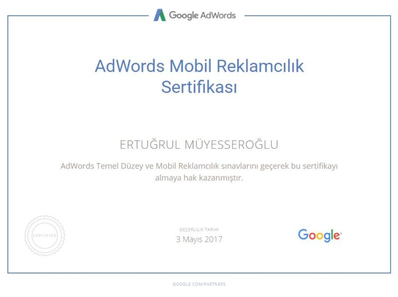 AdWords Uzmanı Google AdWords Sertifikası
