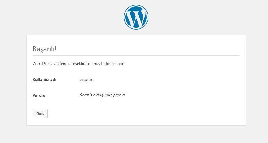 localhost wordpress kurulumu 5