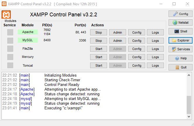 xampp kontrol paneli explorer