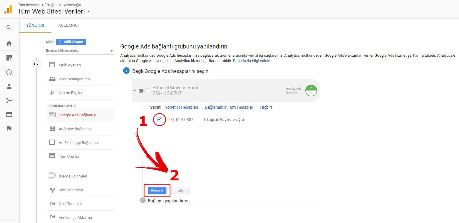 Google Ads AdWords Analytics Bağlama
