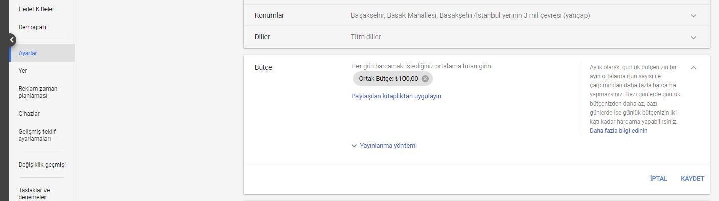 Google Ads AdWords Bütçe