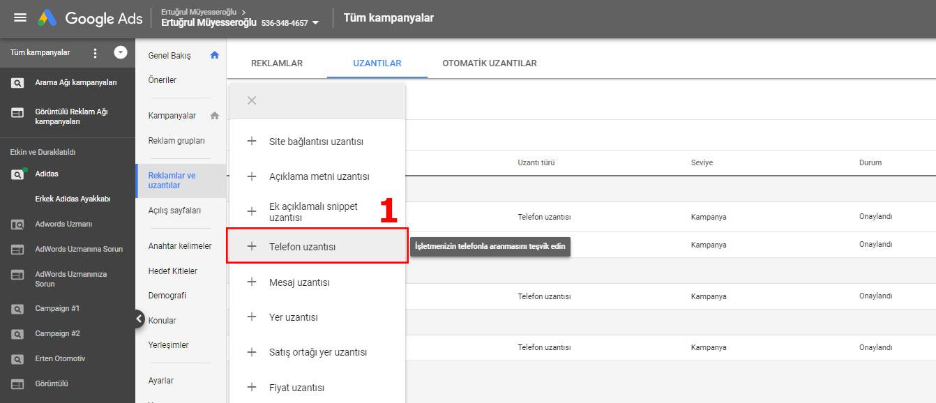 Google Ads AdWords Telefon Uzantısı