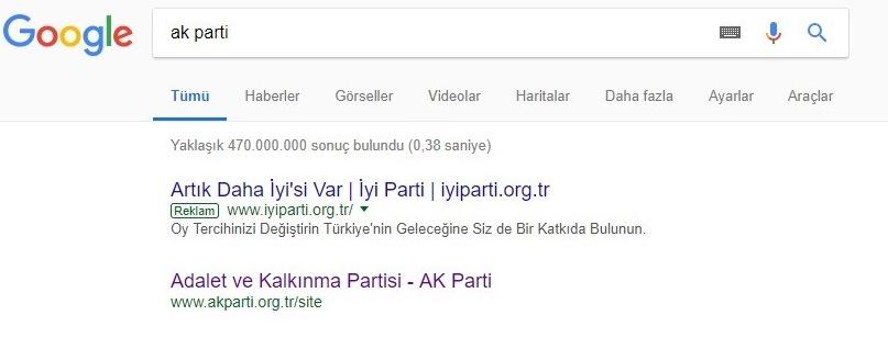 İyi Parti İnternet Reklamı Google