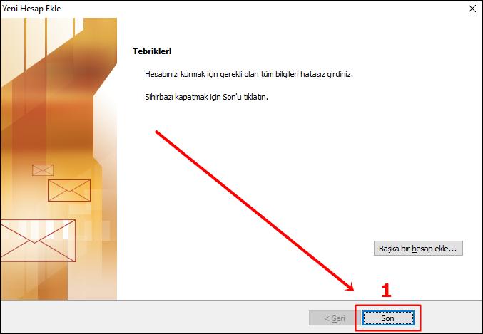 Outlook Gmail Kurulumu 12