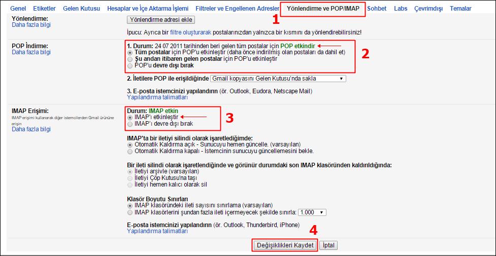 Outlook Gmail Kurulumu 2