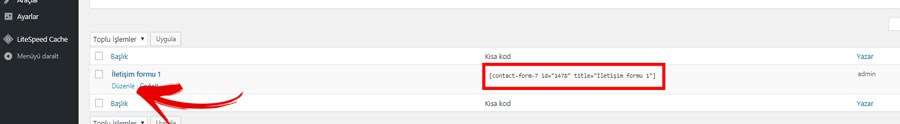 Contact Form Kod