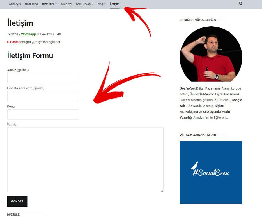 WordPress İletişim Sayfası